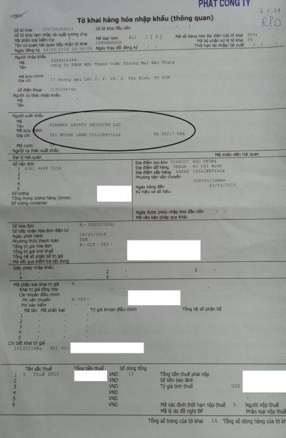 giấy hải quan nhập hàng từ Mỹ