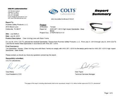 Kính Tensaw đã được kiểm tra chất lượng tại phòng lab Colts - Mỹ