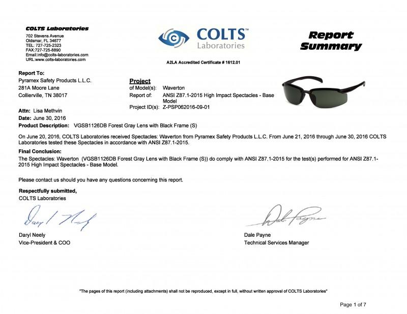 Kính Waverton đã được phòng thí nghiệm Colts (Mỹ) kiểm tra và chứng nhận đạt tiêu chuẩn an toàn của Mỹ ANSI Z87.1