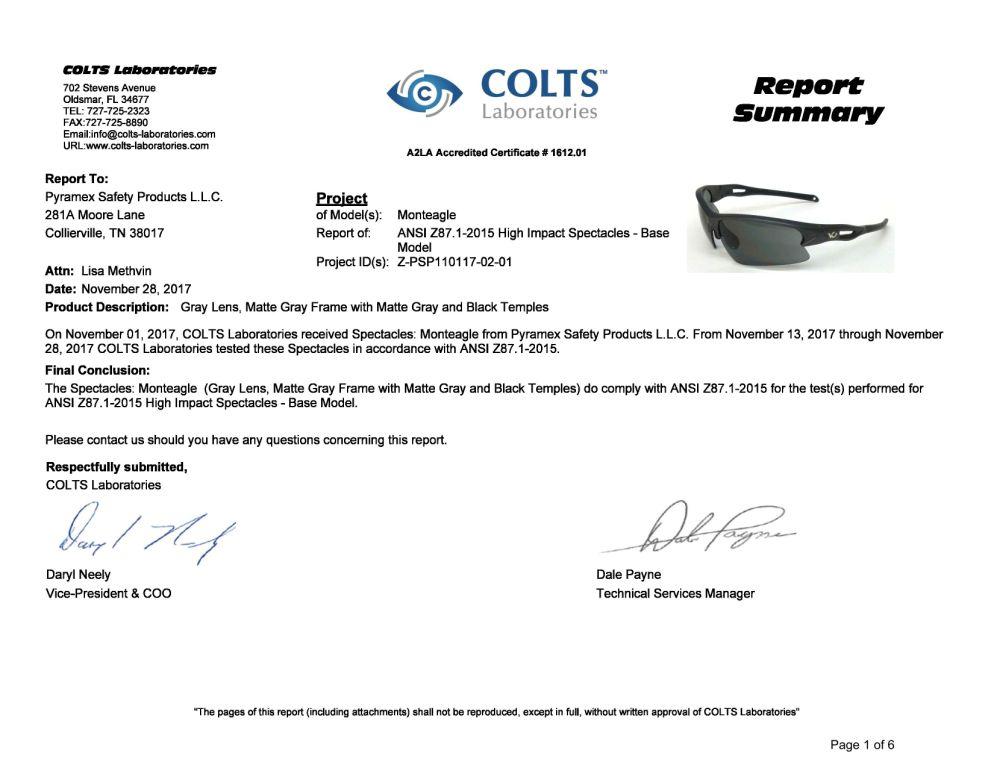 Kính Monteagle đã được kiểm tra chất lượng tại phòng lab Colts - Mỹ
